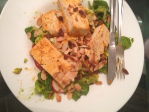 tofu salad with almonds