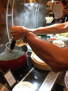 asian food buffet noodle soup pho vegetables