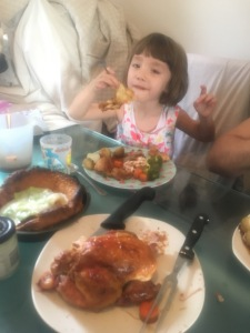 kids eating yorkshire dinner yorkshire puddings leek